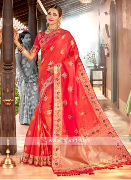 Dark Peach Color Classic Saree