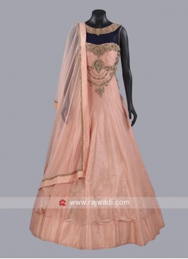Dark Peach Designer Gown with Dupatta