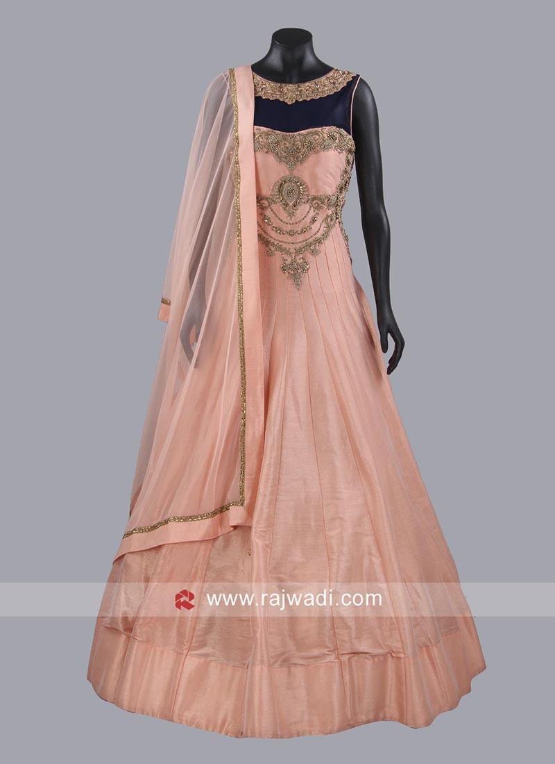Dark Peach Designer Gown with Dupatta