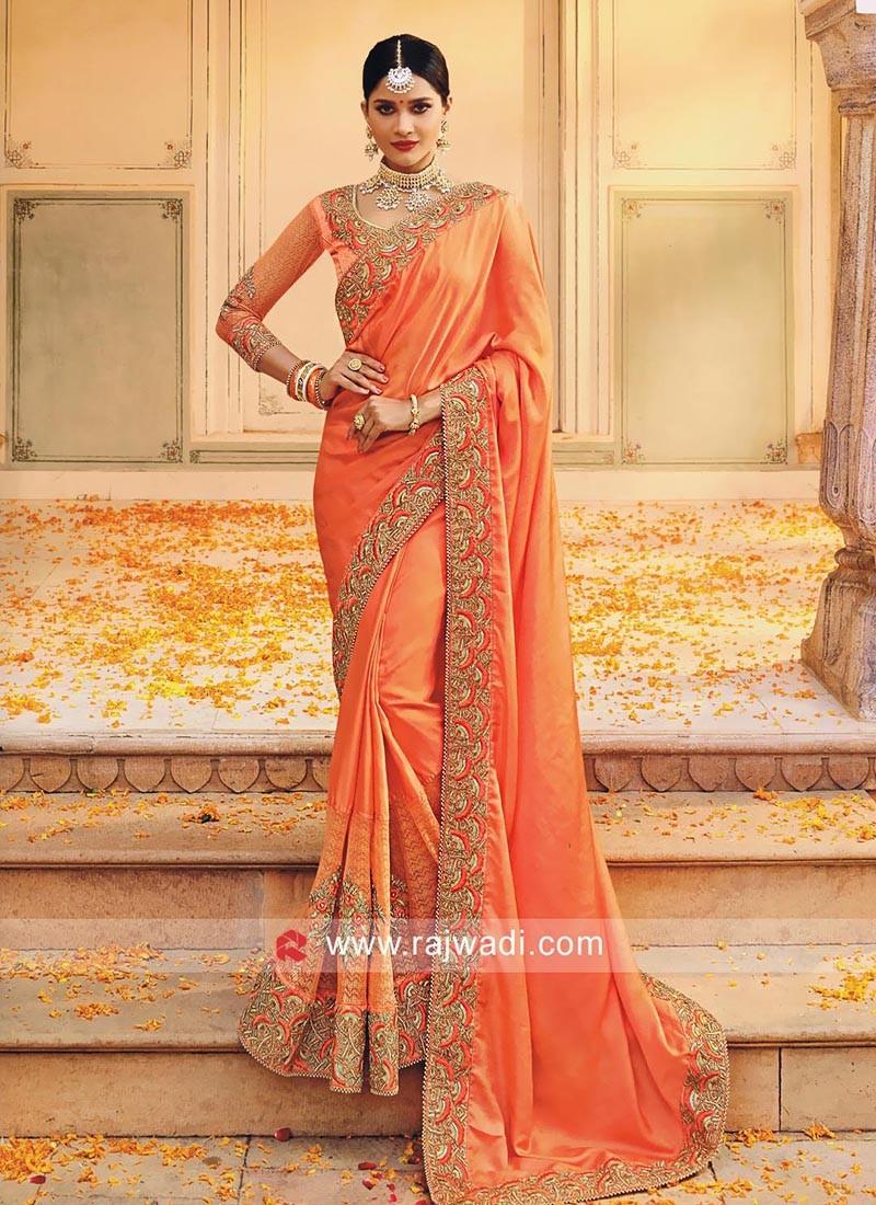 Dark Peach Flower Net Embellished Saree
