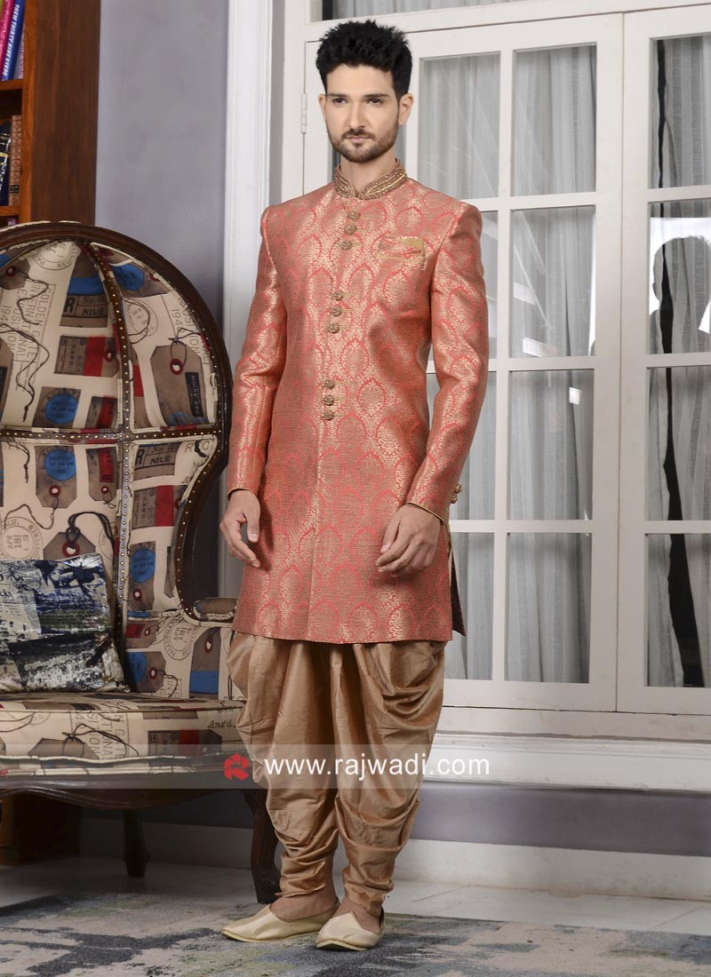 Dark Peach Indo Western For Wedding