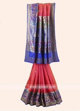 Dark Peach Saree with Blue Embroidered Border