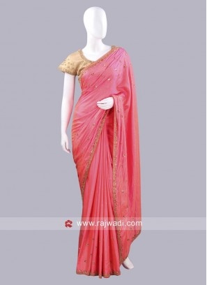 Dark Peach Saree with golden Cream Blouse