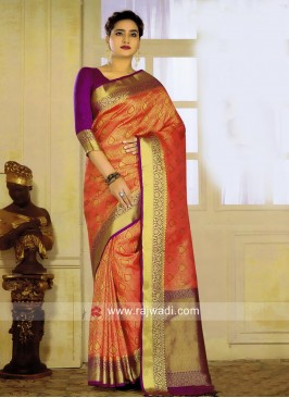 Dark Peach Saree with Purple Blouse