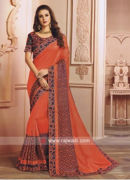 Dark Peach Stone Work Saree