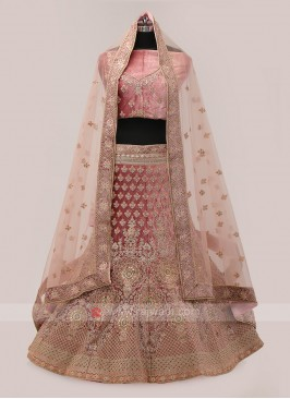 Dark Peach Velvet Lehenga Choli