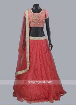 Dark Peach Wedding Lehenga Set