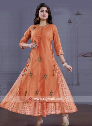 Dark Peach Zardozi Work Kurti