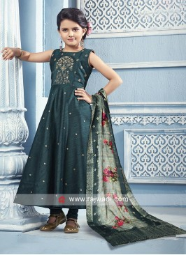 Dark peacock blue anarkali suit