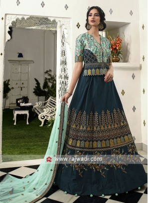 Dark peacock blue and sky blue lehenga choli
