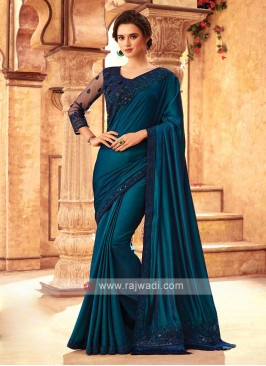 Dark Peacock Blue Art Silk Saree