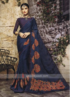 Dark Peacock Blue Saree