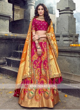 Dark pink and orange lehenga choli