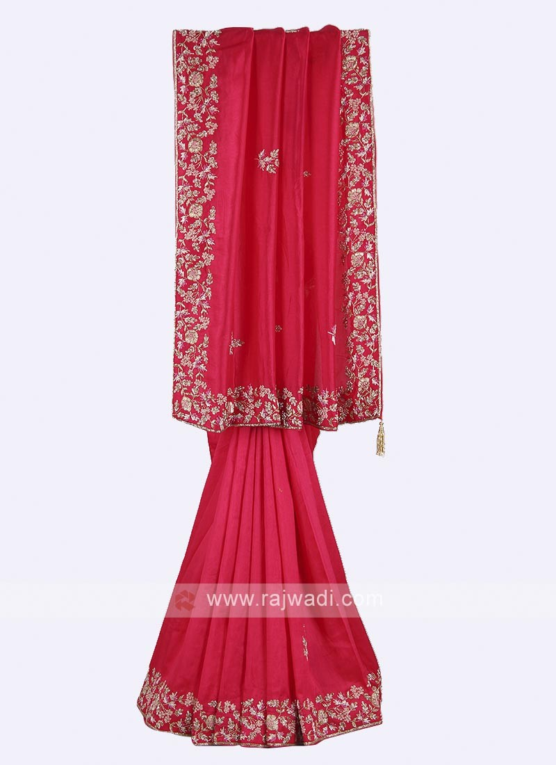 Dark pink color pure silk saree