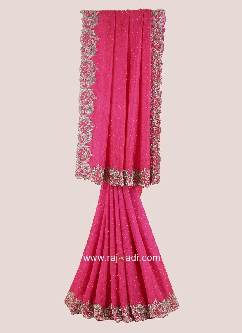 Dark Pink Satin Silk Saree with Blouse