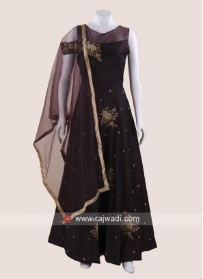 Dark Purple Embroidered Gown with Dupatta