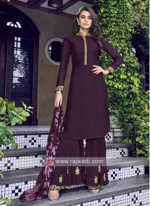 Dark purple gharara suit
