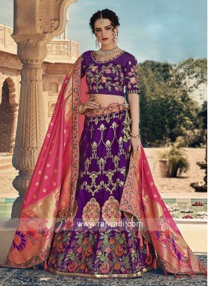 Dark purple lehenga choli with pink dupatta