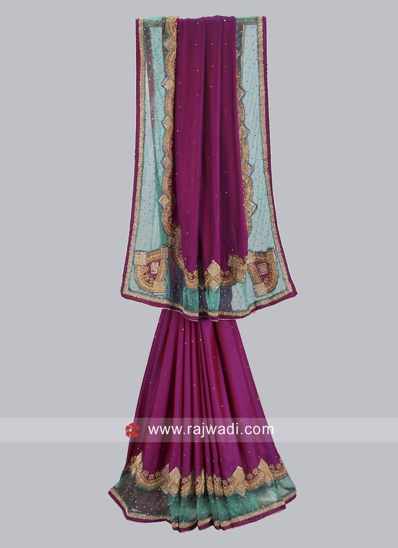 Dark Purple Satin Silk Saree