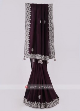 Dark Purple Silk Saree