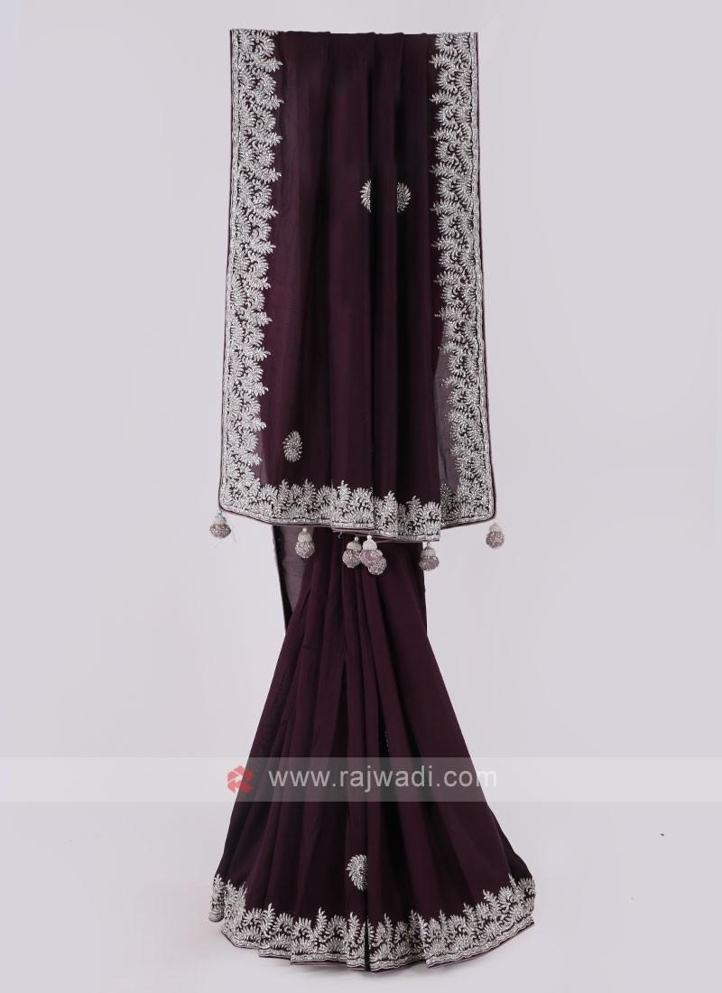 Dark Purple Silk Saree