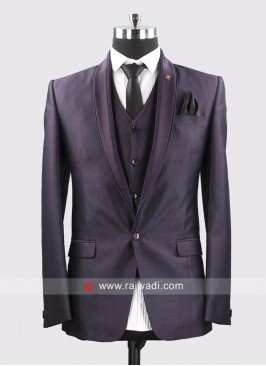 Dark Purple Wedding Wear Suit