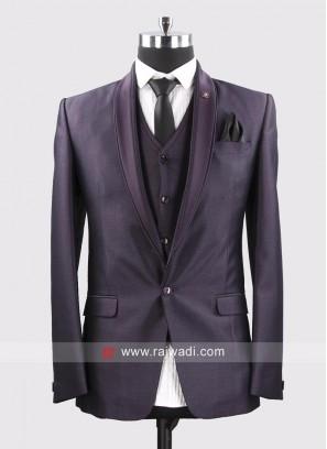 Dark Purple Wedding Wear Suit