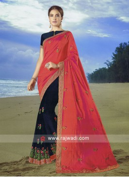 Dark Rama  and dark peach Art Silk Saree with matching blouse.