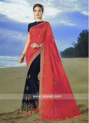 Dark Rama  and dark peach Art Silk Saree with matching blouse.