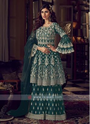 Dark Rama Color Net Dress Material