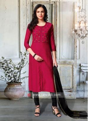 Dark Rani & Black Churidar Suit With Dupatta