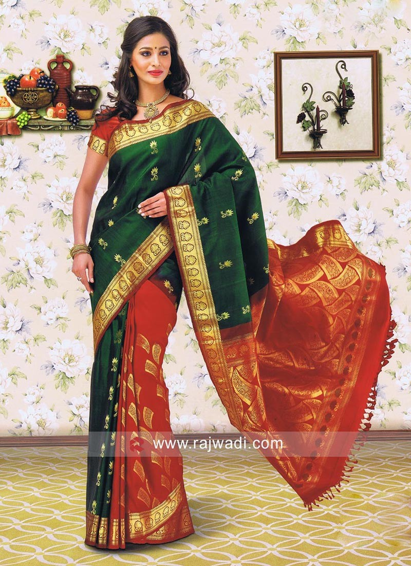Dark Red and Bottle Green Silk Saree