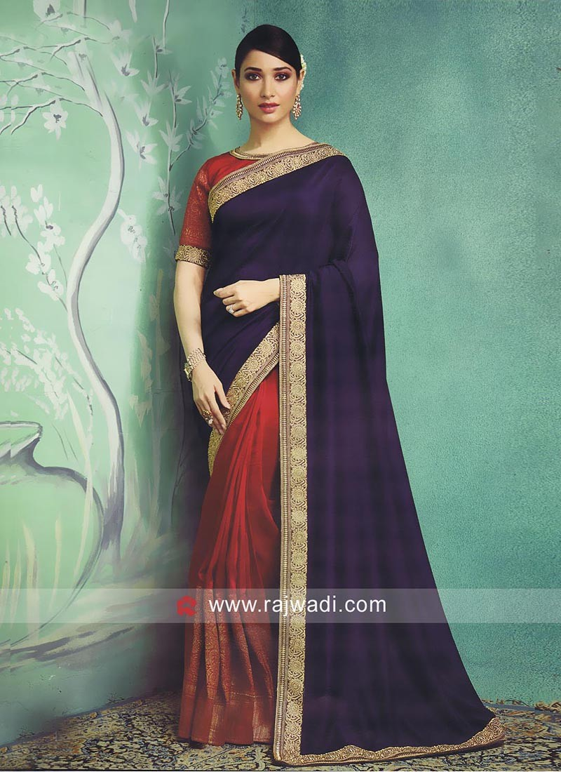 Dark Red and Navy Tamannaah Bhatia Half Saree