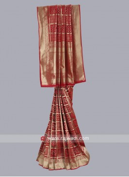 Dark Red Banarasi Silk Saree