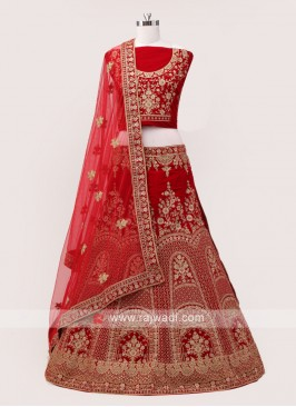Dark Red Bridal Lehenga choli