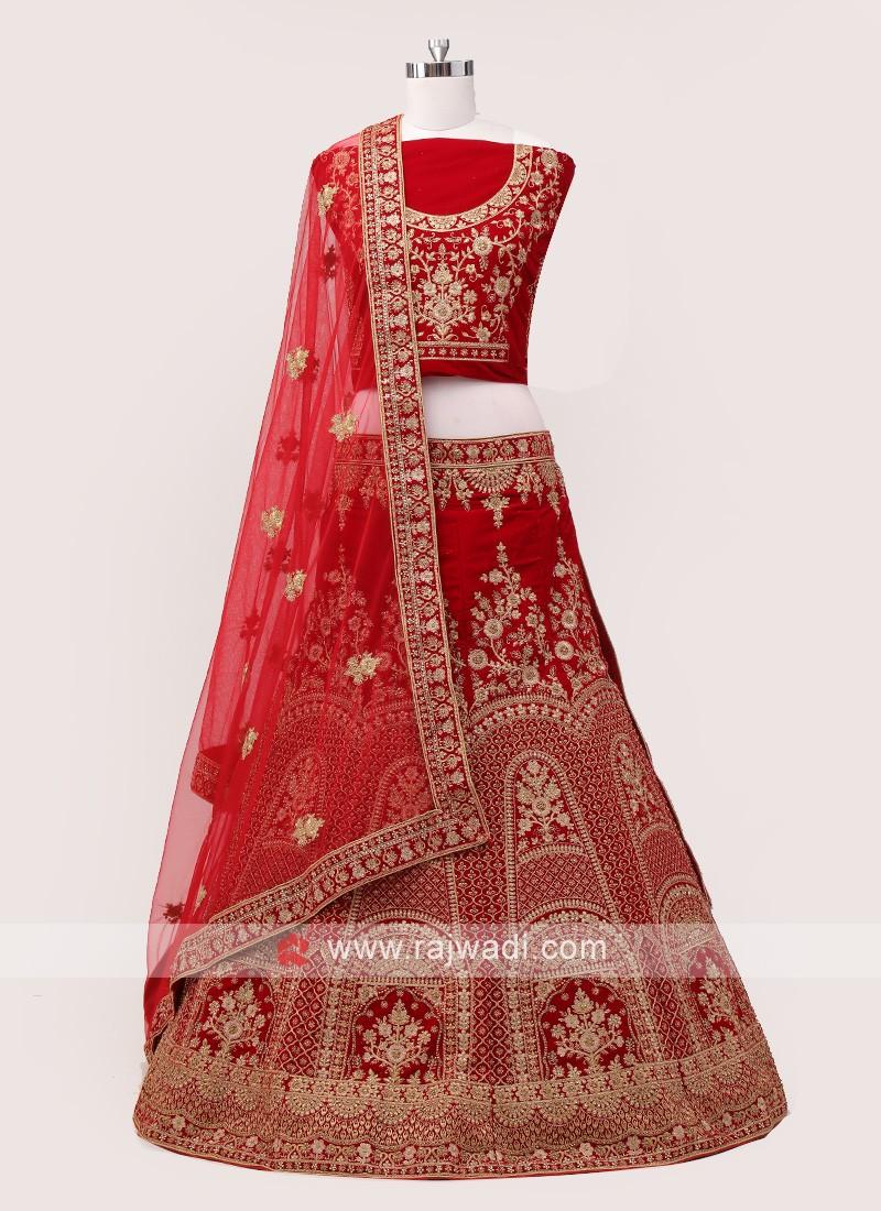 Dark Red Bridal Lehenga choli