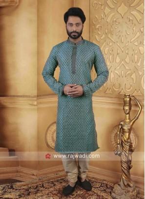 Sea Green Color Kurta Pajama