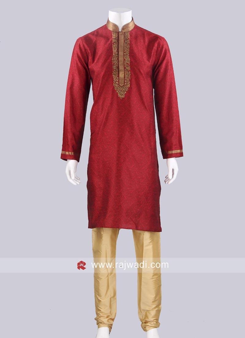 Dark Red Color Kurta Pajama
