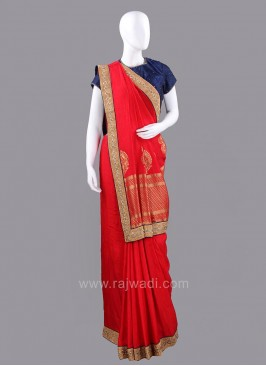 Dark Red Embroidered Sari with Unstitched Blouse