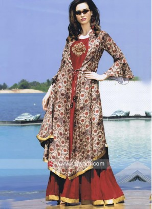 Dark Red Kurti with Printed Jacket