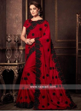 Dark Red Sari with Black Border