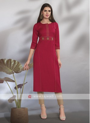 Dark Red Straight Fit Kurti