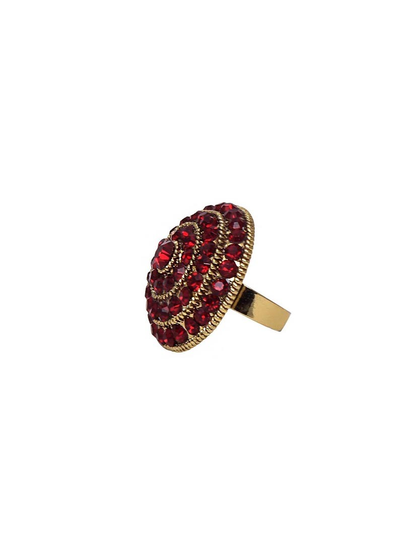 Dark Red Zinc Alloy Crystal Ring