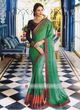 Dark Sea Green Art Satin Silk Sari