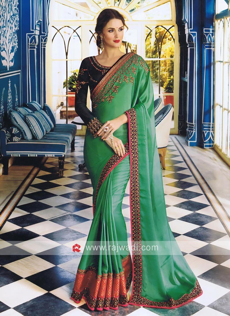 Dark Sea Green Art Satin Silk Sari