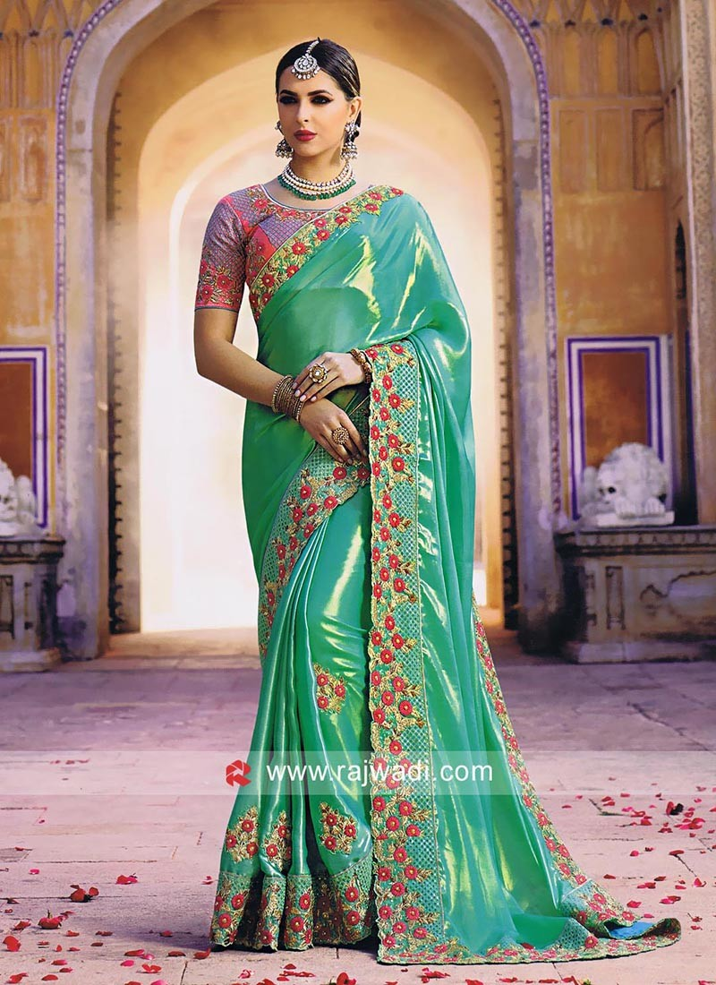 Dark Sea Green Embroidered Saree