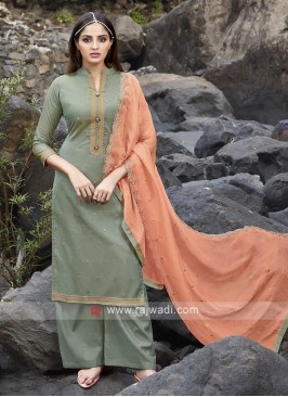Dark sea green palazzo suit