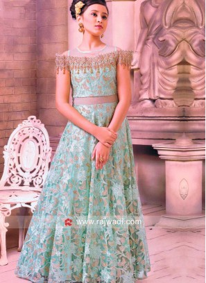 Dark Sea Green Silk Net Gown For Party