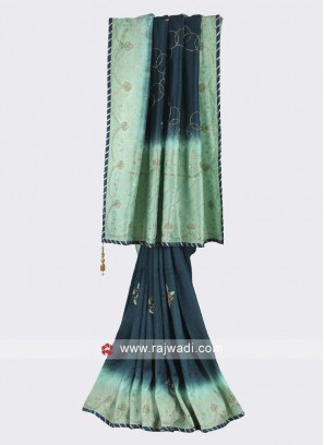 Dark teal and sea green color silk saree