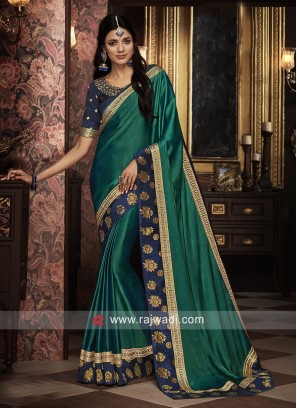 Dark Teal Border Work Saree